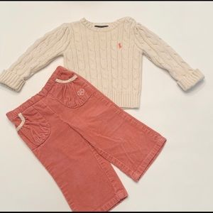 EUC Ralph Lauren Sweater & Corduroy set ( 12 mos)